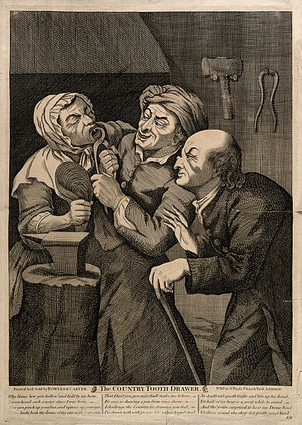 A_rustic_blacksmith_turned_tooth-drawer_extracting_a_tooth_f_Wellcome_V0012026
